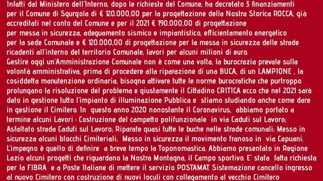 Messaggio del Sindaco Antonio Corsi