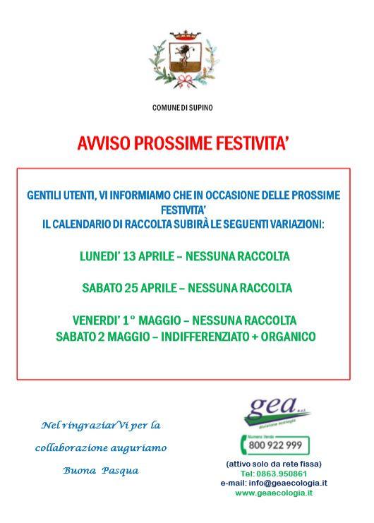 AVVISO RACCOLTA DIFFERENZIATA PER LE PROSSIME FESTIVITA'