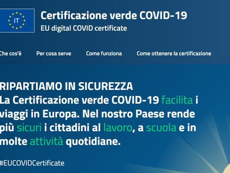 Certificazione verde COVID-19EU digital COVID certificate.  COME SCARICARE IL GREEN PASS.