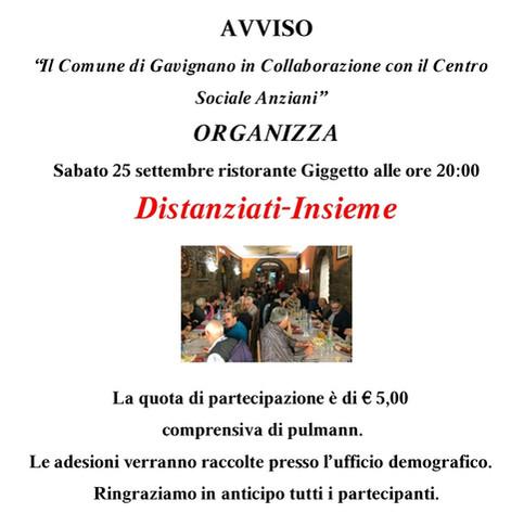 """""""Distanziati Insieme""""- Il Comune di Gavignano in collaborazione con il Centro Sociale Anziani."""