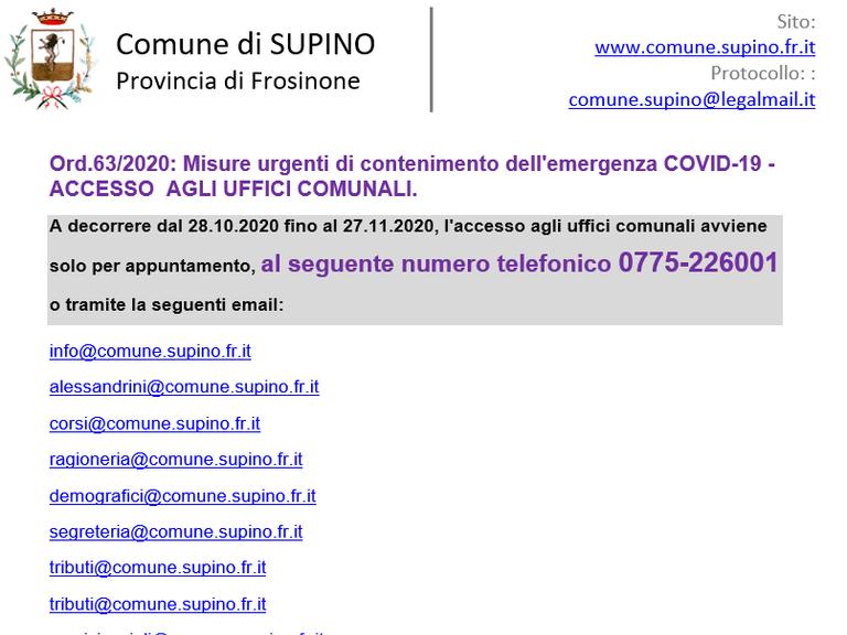 Ord.63/2020: Misure urgenti di contenimento dell'emergenza COVID-19 - ACCESSO  AGLI UFFICI COMUNALI.