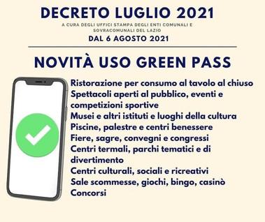 Covid-19: nuove regole per il Green Pass dal 6 agosto