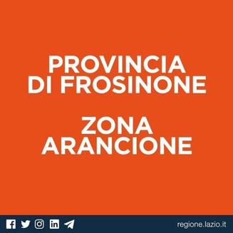 LA PROVINCIA DI FROSINONE IN ZONA ARANCIONE.