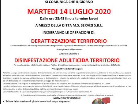 AVVISO ALLA POPOLAZIONE: MARTEDI' 14 LUGLIO 2020 DERATTIZZAZIONE TERRITORIO.