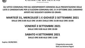 ORARI UFFICI COMUNALI PER GLI ADEMPIMENTI CONNESSI ALLA PRESENTAZIONE DELLE LISTE E CANDIDATURE...
