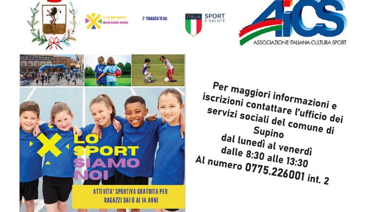 """Il comune di Supino in collaborazione con l'AICS promuove il Progetto """"Sport Siamo Noi"""""""