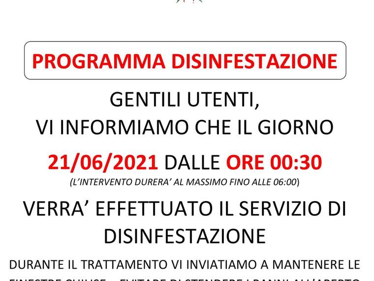 PROGRAMMA SERVIZIO DI DISINFESTAZIONE PER IL 21/06/2021 ORE 00:30