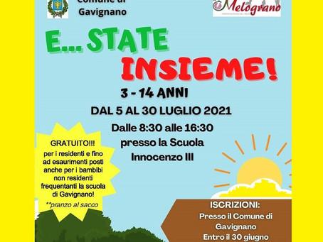 """""""E...STATE INSIEME"""" - Centro Estivo dal 5 al 30 LUGLIO 2021."""