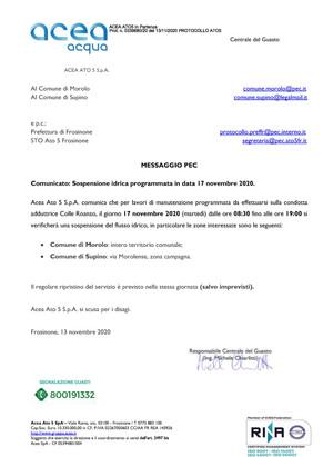 COMUNICATO ACEA: SOSPENSIONE IDRICA PROGRAMMATA IN DATA 17 NOVEMBRE 2020.