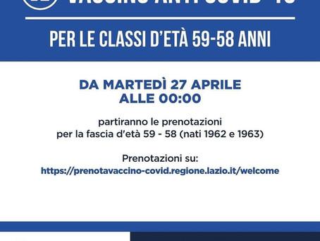 DA MARTEDI' 27 APRILE APERTE LE VACCINAZIONI PER CLASSE DI ETA' 59-58 ANNI.