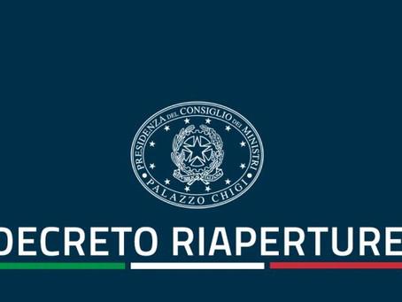 """Comunicato stampa del Consiglio dei Ministri n. 14: DECRETO """"RIAPERTURE"""""""