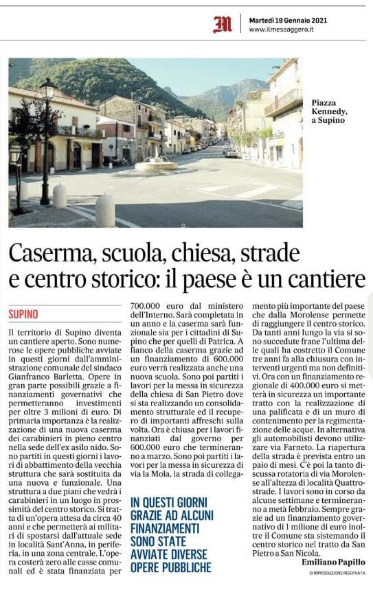 #SUPINO - Caserma, scuola, chiesa, strade e centro storico:il paese è un cantiere