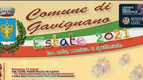 Comune di Gavignano - Programma Eventi Estate 2021