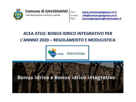 ACEA ATO2: BONUS IDRICO INTEGRATIVO PER L'ANNNO 2020 – REGOLAMENTO E MODULISTICA