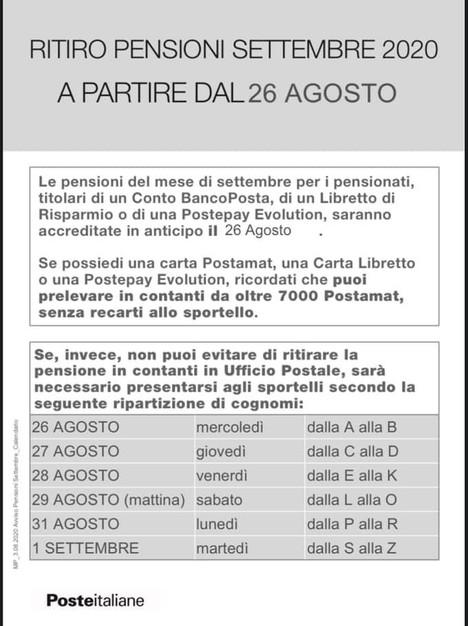 Poste italiane: modalità di pagamento delle pensioni di settembre 2020.