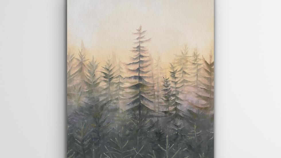 'Winter Forest Mist' Original Oil Painting