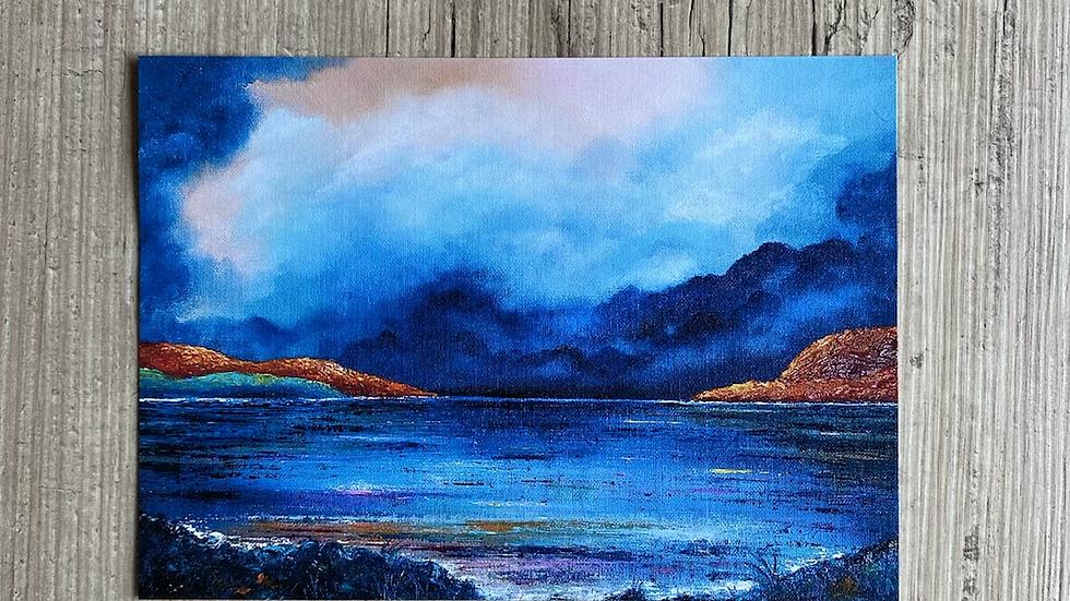"""'Blue Shores' 7""""x5"""" art print."""