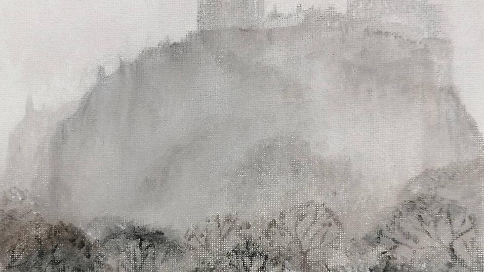 Edinburgh Castle Winter Giclee Print 20x20cm