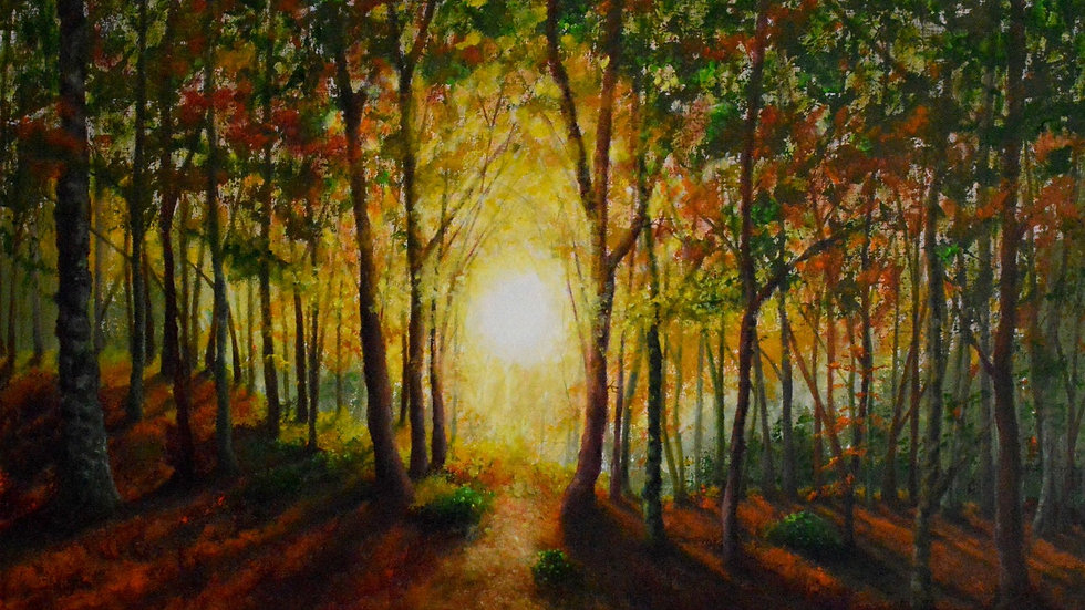 """'Autumn Sunset' 12""""x16"""" mounted art print"""