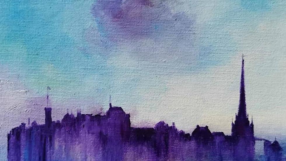 Edinburgh Castle Winter Eve 20x20cm giclee print