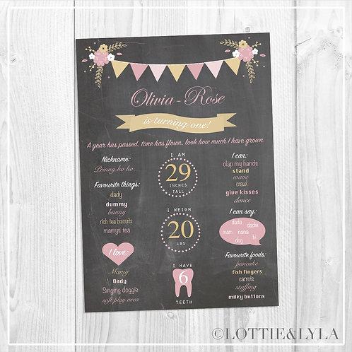 Chalk Floral Bunting Birthday Print