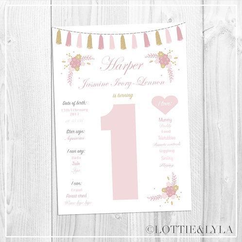 Tassle Floral Birthday Print