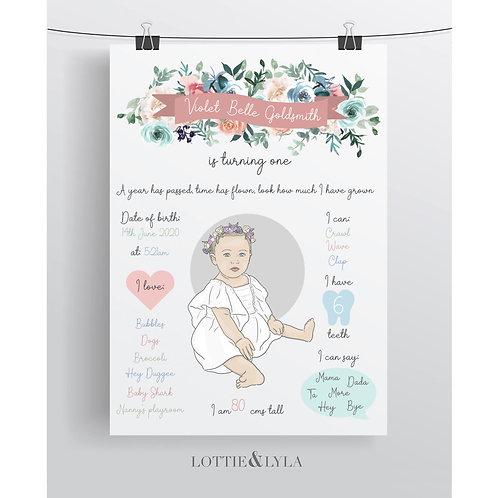 Portrait Birthday - Floral Banner