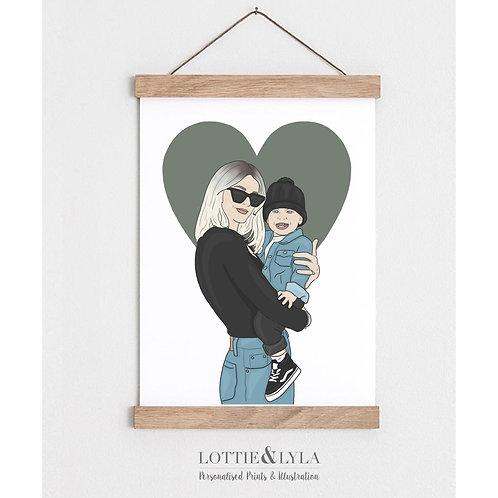 Colour Person / Pet Illustration (Heart)