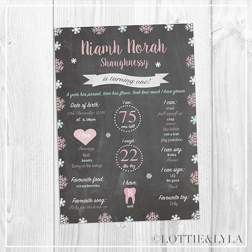 Chalk Winter Wonderland Birthday Print