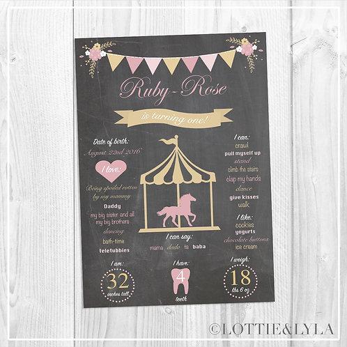 Chalk Carousel Birthday Print