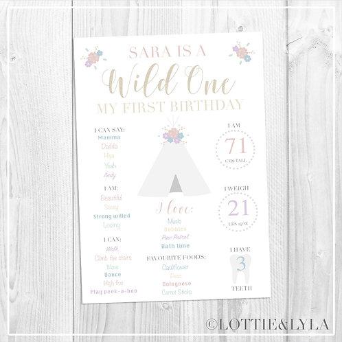 Wild One Theme Birthday Print