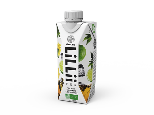LiLLii Tea BIO - Thé noir gingembre & citron vert - 12 bouteilles