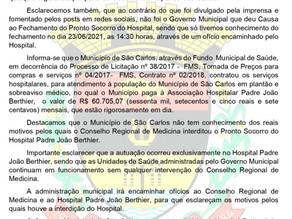 NOTA DE ESCLARECIMENTO PREFEITURA MUNICIPAL DE SÃO CARLOS