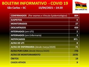 Atualização Covid 19 e Dengue no Município de São Carlos - SC 13/04/2021 - 14h20min