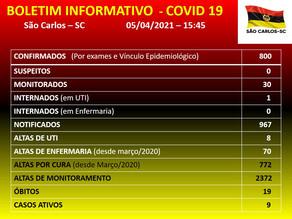 Atualização Covid 19 e Dengue no Município de São Carlos - SC 05/03/2021 - 15h45min