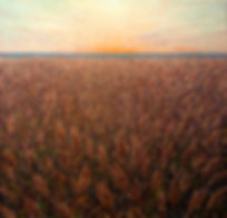 Contemporary painting, contemporary landscape painting by contemporary artist Miguel Saludes of a sunset