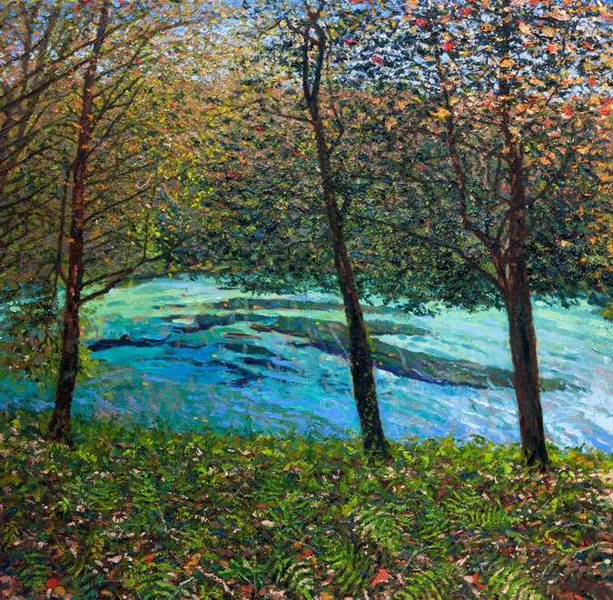 Contemporary oil landscape painting by Miami artist Miguel Saludes, inspired by the Ichetucknee springs.