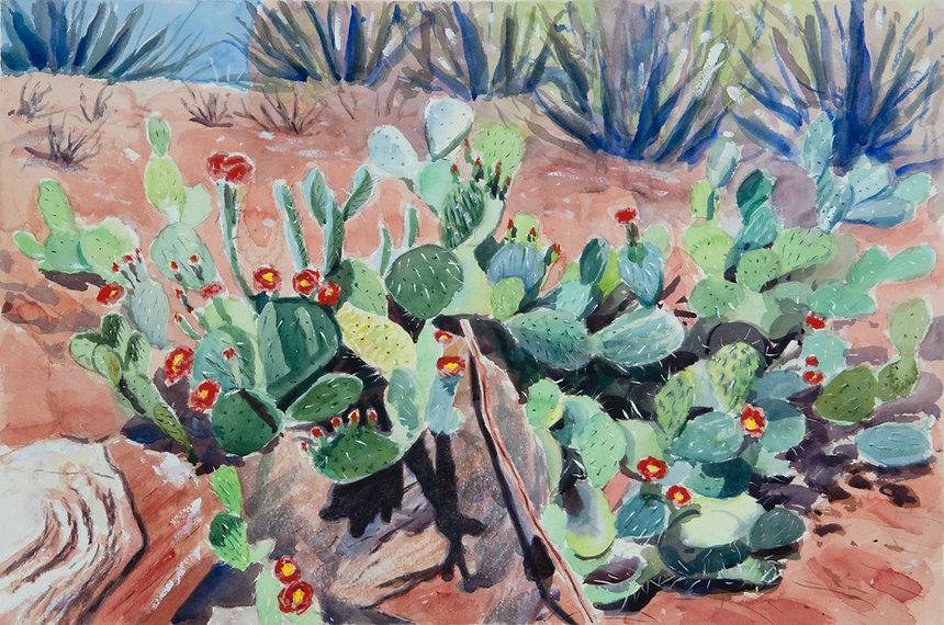 Landscape with Cacti on Red Sandstone.jp