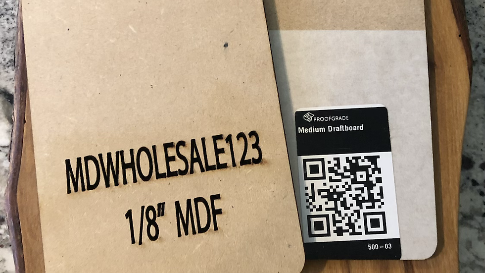 """1/8""""  MDF sheets box (glowforge) shipping included(non shinning)"""