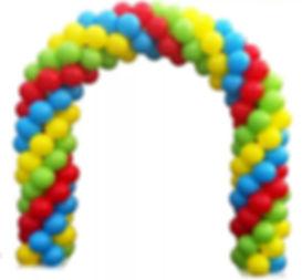 четырехцветная арка из воздушных шаров.j