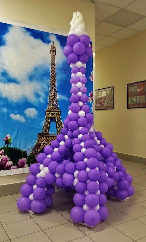 Эйфелева башня из шаров. Заказать оформление томск