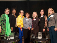 """Shivaun Palmer (far left) Co-Founder, DEI Consultants, LLC with (l to r) Erma Hadley Johnson, Chancellor, Tarrant County College District; Colonel Kim Olson, USAF (ret), author and political candidate; Eva Bonilla, Officer, Hispanic Women's Network of Texas; Leslie Oliver, Partner, Cantey Hanger Law Firm; Julia Wellborn, EVP, Exec Director of Wealth Mgmt, Comerica Bank; Jean Wallace, Director, HR, Lockheed Martin Aeronautics -  """"An Evening With Great Women"""" Fort Worth, TX"""