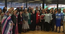 Cathy Holt, Co-Founder, DEI Consultants, LLC celebrating with participants of the UN Expert Group Meeting on Engendering the New Urban Agenda at the Ford Foundation.