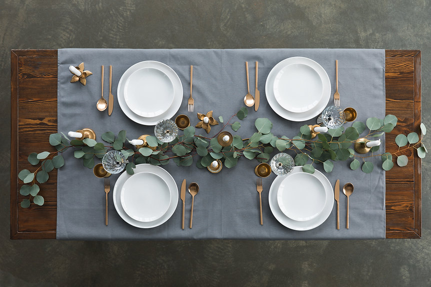 top view of rustic table setting with eu