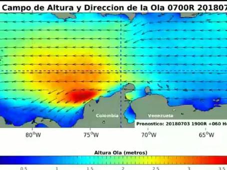 Alerta por fuerte oleaje en el Caribe Colombiano.