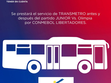 Transmetro prestará servicio para asistentes al partido del Junior