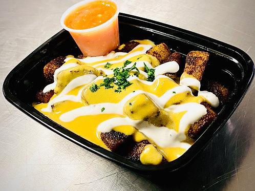 Cheesy Potatoes and Salsa