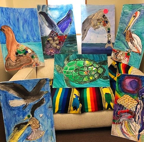 Elementary student's art educate the public about plastic pollution and express appreciation