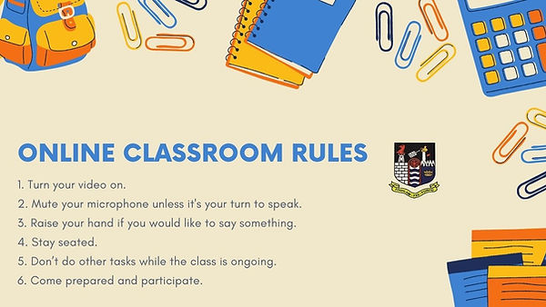 Yellow and Blue Classroom Rules Educatio