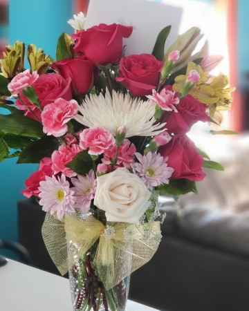 """Pink and White arrangement   When you say """"I love you"""", say it with flowers!"""
